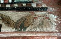 Ethiopie Peintures au plafond de l'Eglise Bete Maryam XII°s. Lalibela est une ville de la région Amhara, dans le nord de l'Éthiopie. Elle est connue pour ses églises uniques, taillées dans la roche, qui datent des XIIe et XIIIe siècles et constituent des sites de pèlerinage pour les chrétiens coptes. Creusés à même la roche, les monolithes souterrains comprennent l'immense Bete Medhane Alem et l'église en forme de croix Bete Giyorgis. Nombre de ces églises sont reliées par des tunnels et des tranchées, et certaines sont ornées de bas-reliefs et de fresques colorées à l'intérieur. Altitude : 2 630 m