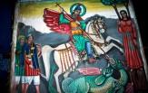 Peinture San Georgis terrassant le dragon Eglise Bete San Giorgis Lalibela ville sainte des chrétiens orthodoxes.Février 1996. Ethiopie.